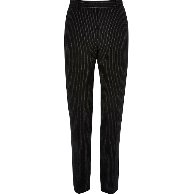 River Island Navy Pinstripe Skinny Suit Trousers