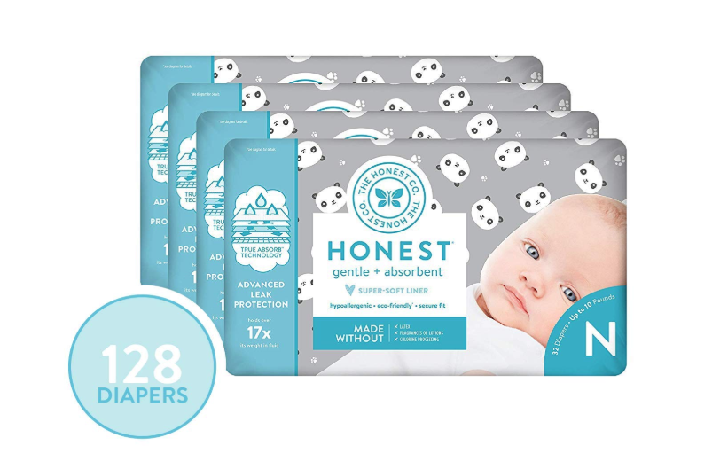 The Honest Company Newborn Diapers in Pandas Print, 128 Count,