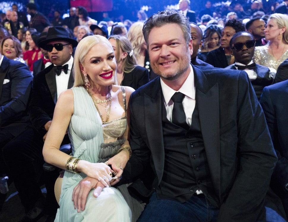 Gwen Stefani and Blake Shelton at 2020 grammys - inside
