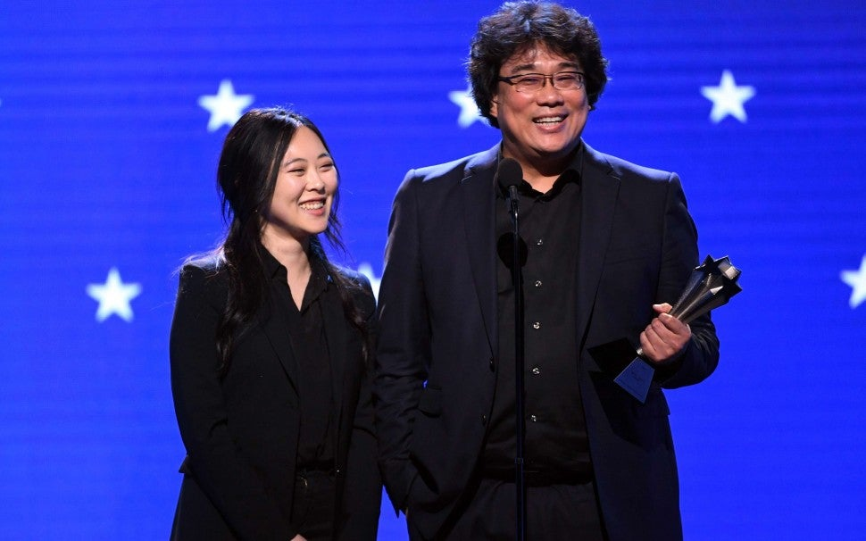 Sharon Choi and Bong Joon-Ho at the 2020 Critics' Choice Awards