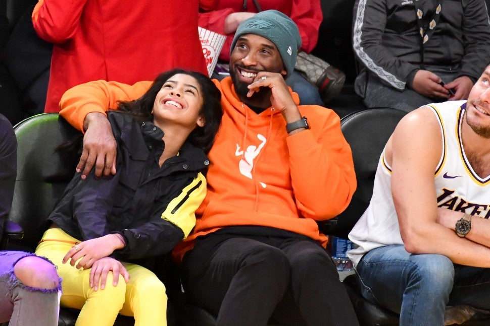 Gianna and Kobe Bryant at lakers game
