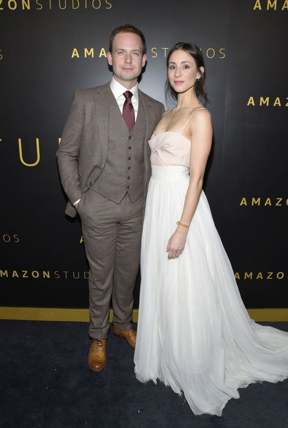 Troian Bellisario and Patrick J Adams at Globes after party