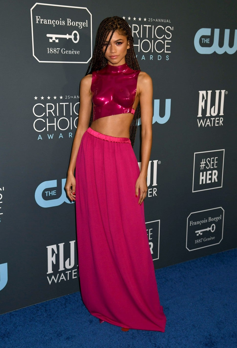 Zendaya critics choice awards pink outfit