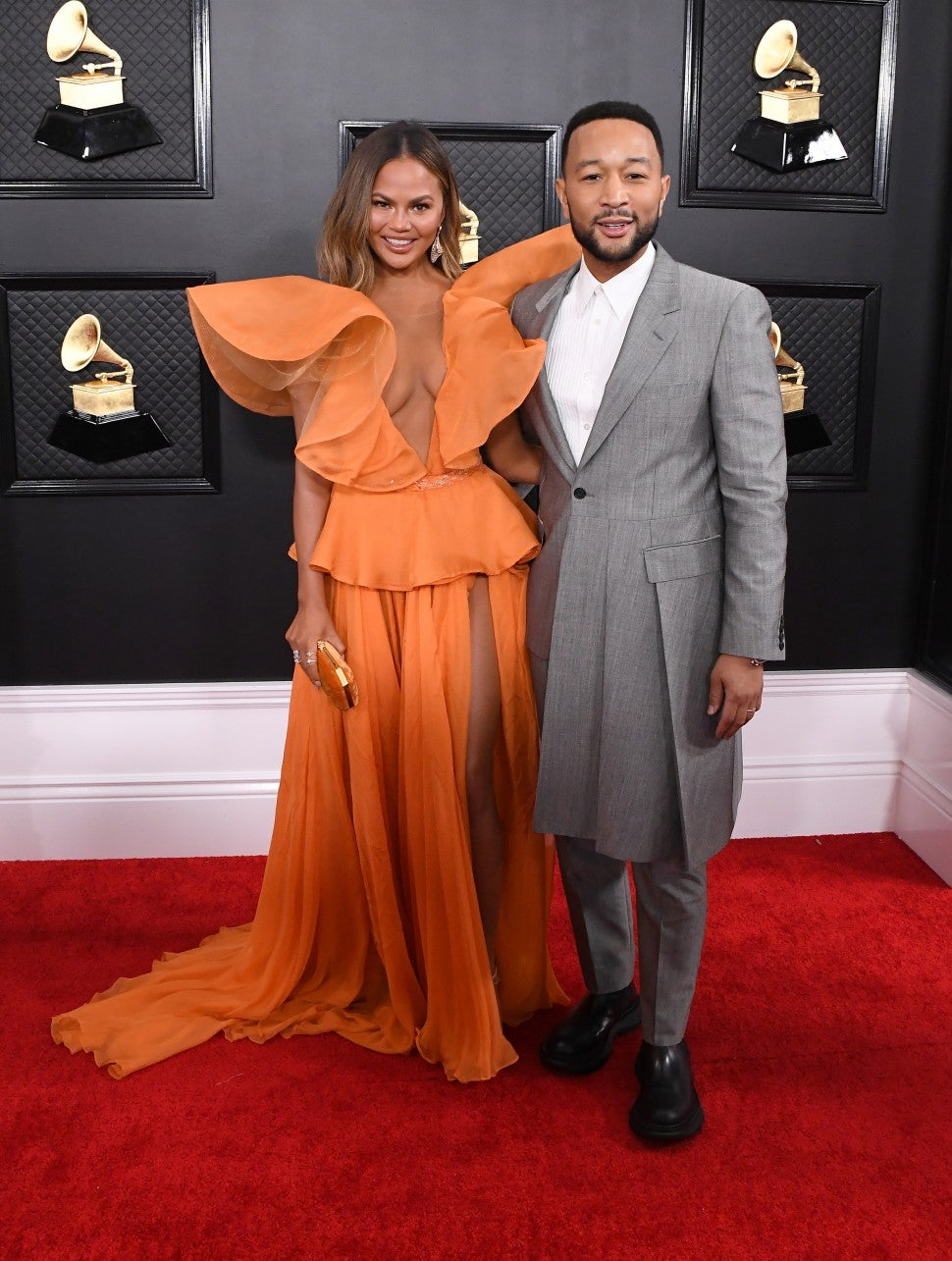 Chrissy Teigen and John Legend at 2020 grammys