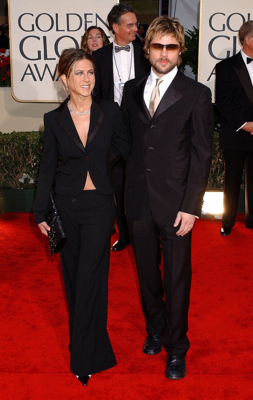 "Brad Pitt at ""Running Into""  Ex Jennifer Aniston at the 2020 Golden Globes (exclusive) |  Entertainment tonight"