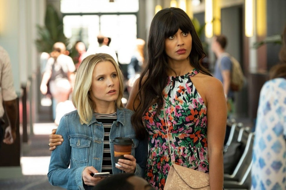 Jameela Jamil and Kristen Bell The Good Place