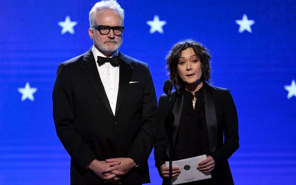 Bradley Whitford and Sara Gilbert at the 2020 Critics' Choice Awards