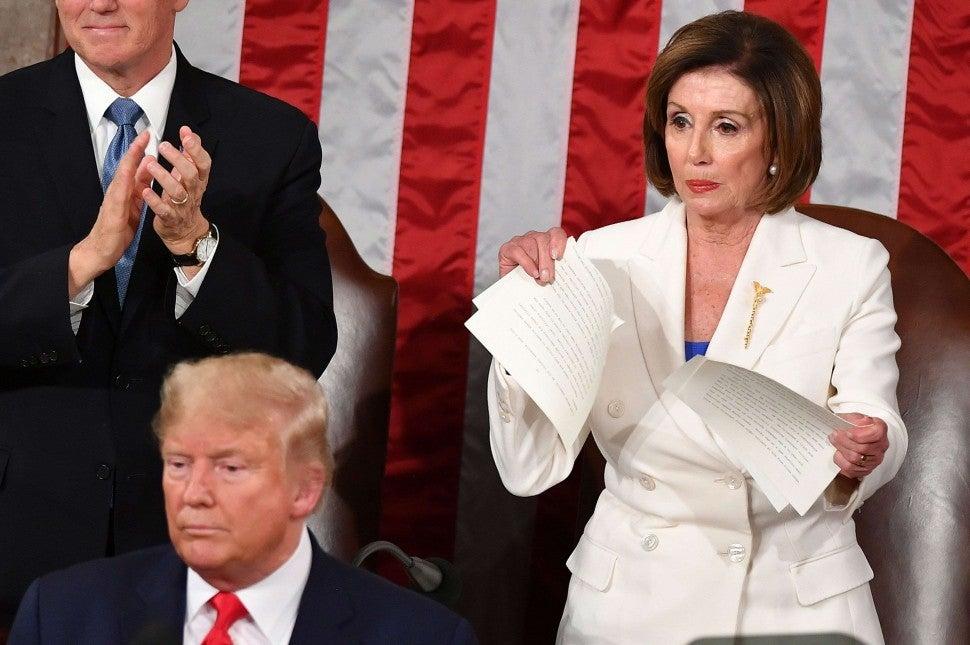 Nancy Pelosi at Donald Trump's State of the Union Speech