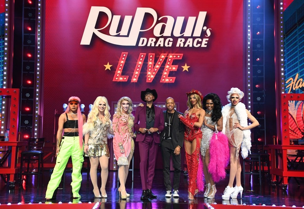 RuPaul and Jamal Sims on stage with the queens of 'RuPaul's Drag Race LIVE' in Las Vegas.