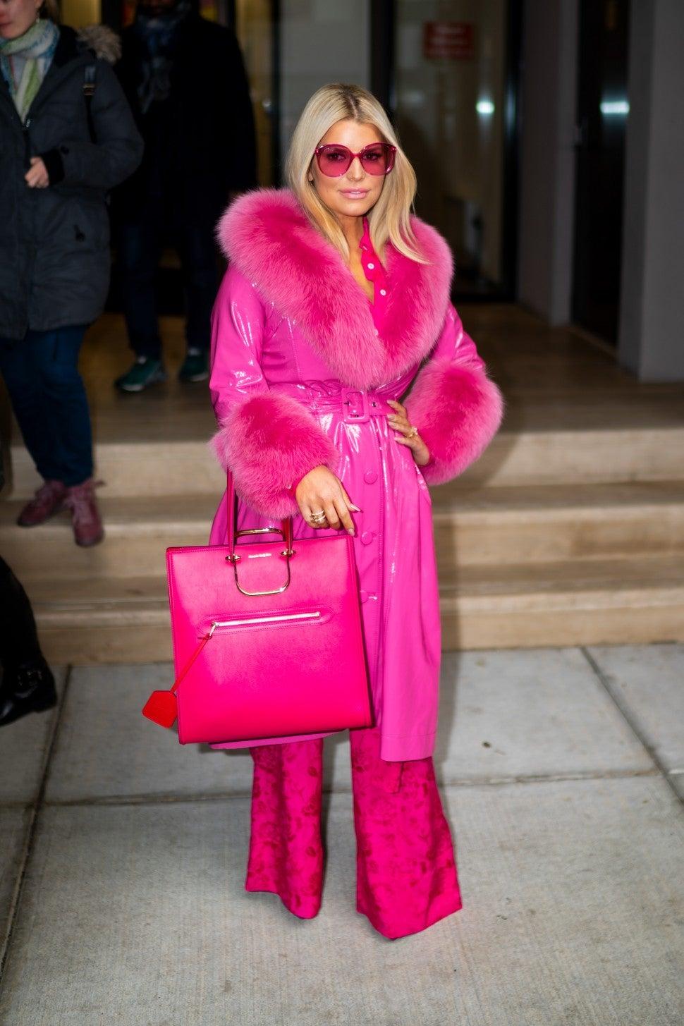 Jessica Simpson in pink coat in New York City