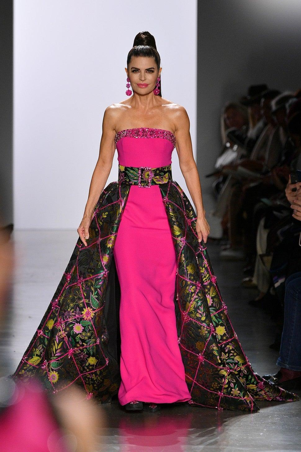Lisa Rinna walks in Dennis Basso F/W 2020 fashion show