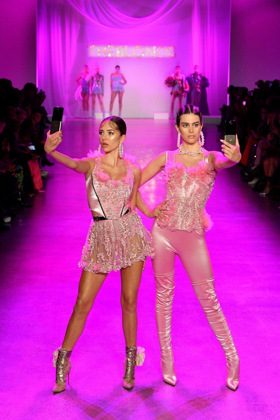 Delilah Belle Hamlin and Amelia Gray Hamlin walk The Blonds F/W 2020 fashion show