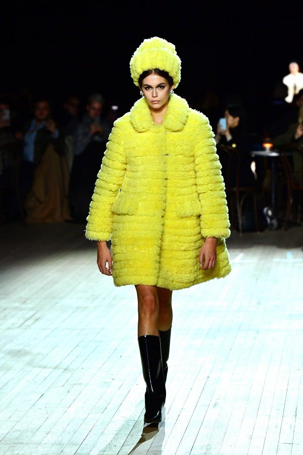 Kaia Gerber walking in Marc Jacobs F/W 2020 fashion show