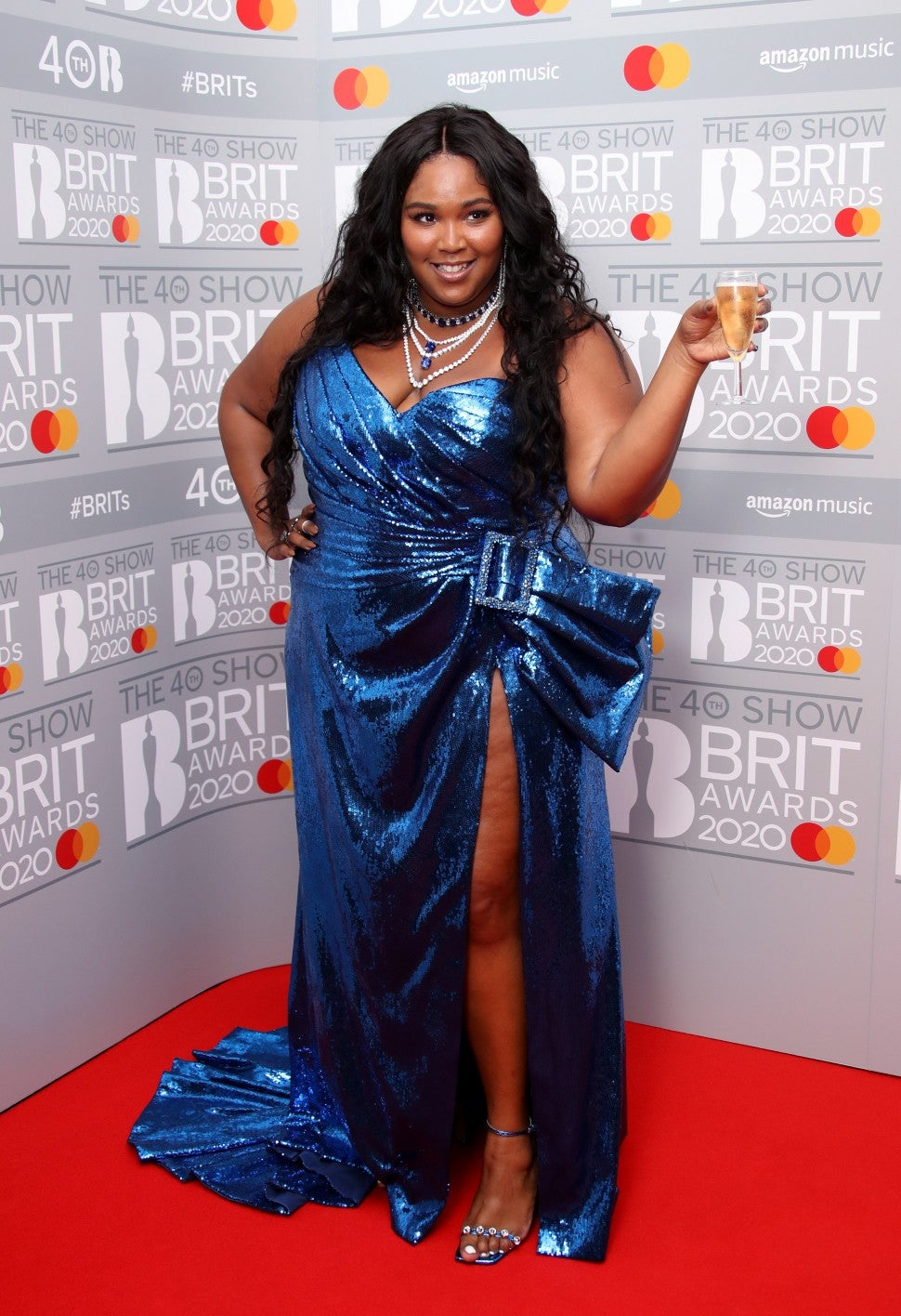 Lizzo at 2020 Brit Awards winners room