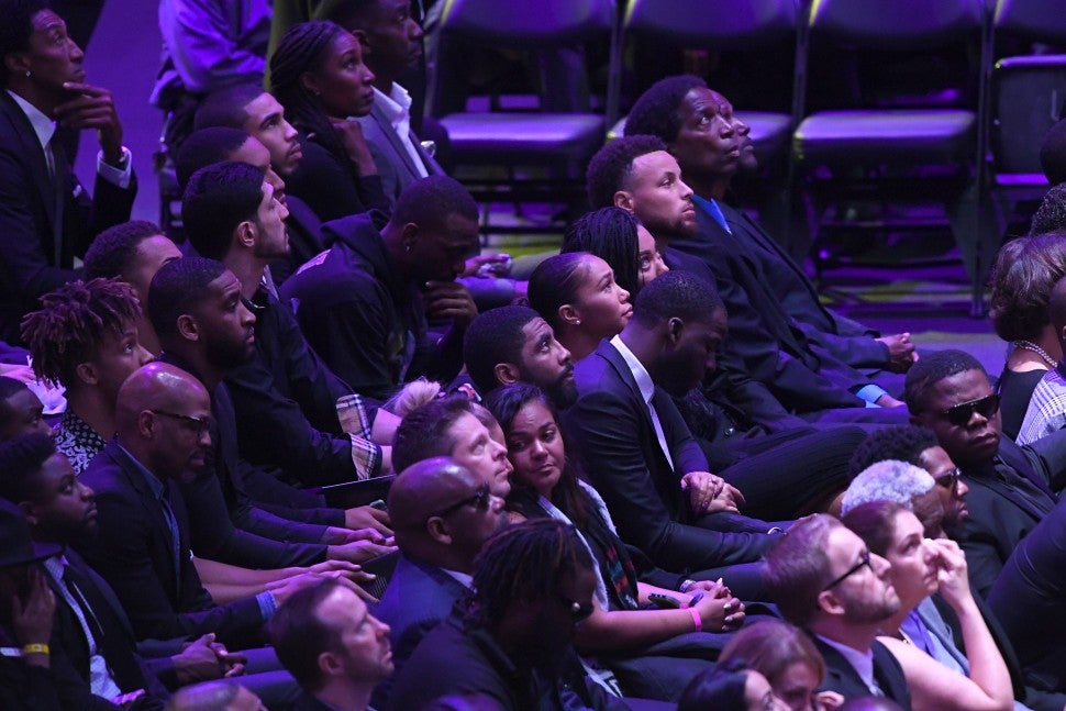 Kyrie Irving, Draymond Green, Steph Curry and AC Green at The Celebration of Life for Kobe & Gianna Bryant