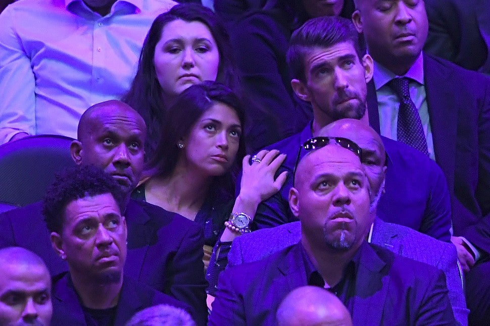 Michael Phelps and Nicole Johnson at The Celebration of Life for Kobe & Gianna Bryant