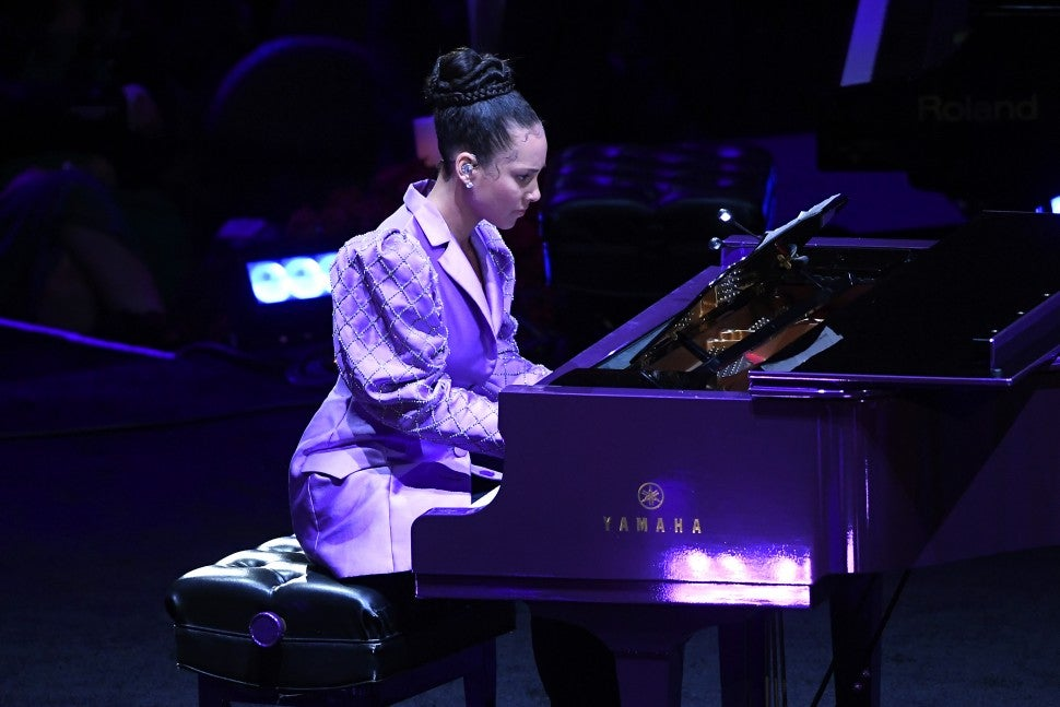 Alicia Keys performs during The Celebration of Life for Kobe & Gianna Bryant