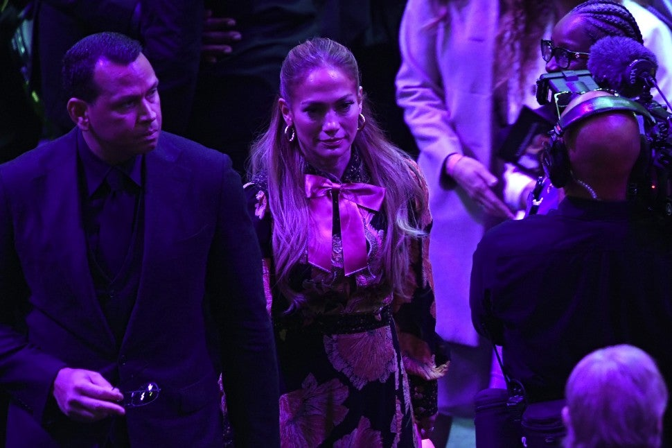 Alex Rodriguez and Jennifer Lopez depart after The Celebration of Life for Kobe & Gianna Bryant