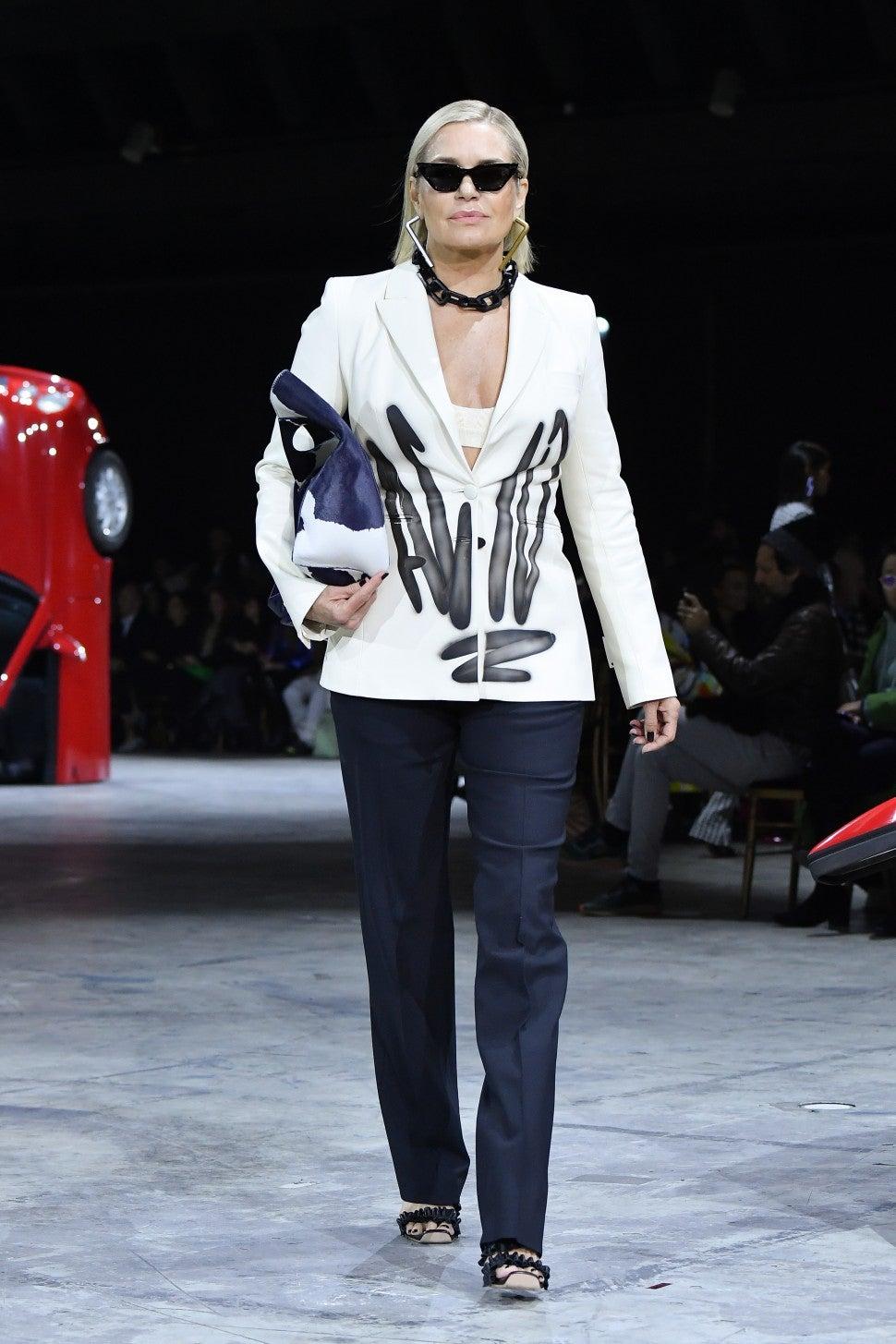 Yolanda Hadid walking in Off-White F/W 2020 fashion show