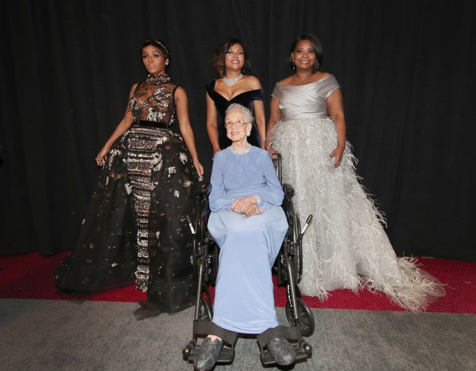 Janelle Monae, NASA mathematician Katherine Johnson and actors Taraji P. Henson and Octavia Spencer pose backstage during the 89th Annual Academy Awards at Hollywood & Highland Center on February 26, 2017.