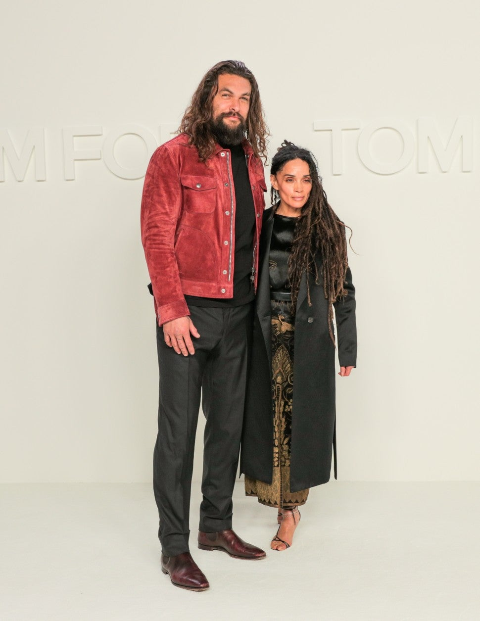 Jason Mamoa and Lisa Bonet at Tom Ford A/W 2020 fashion show