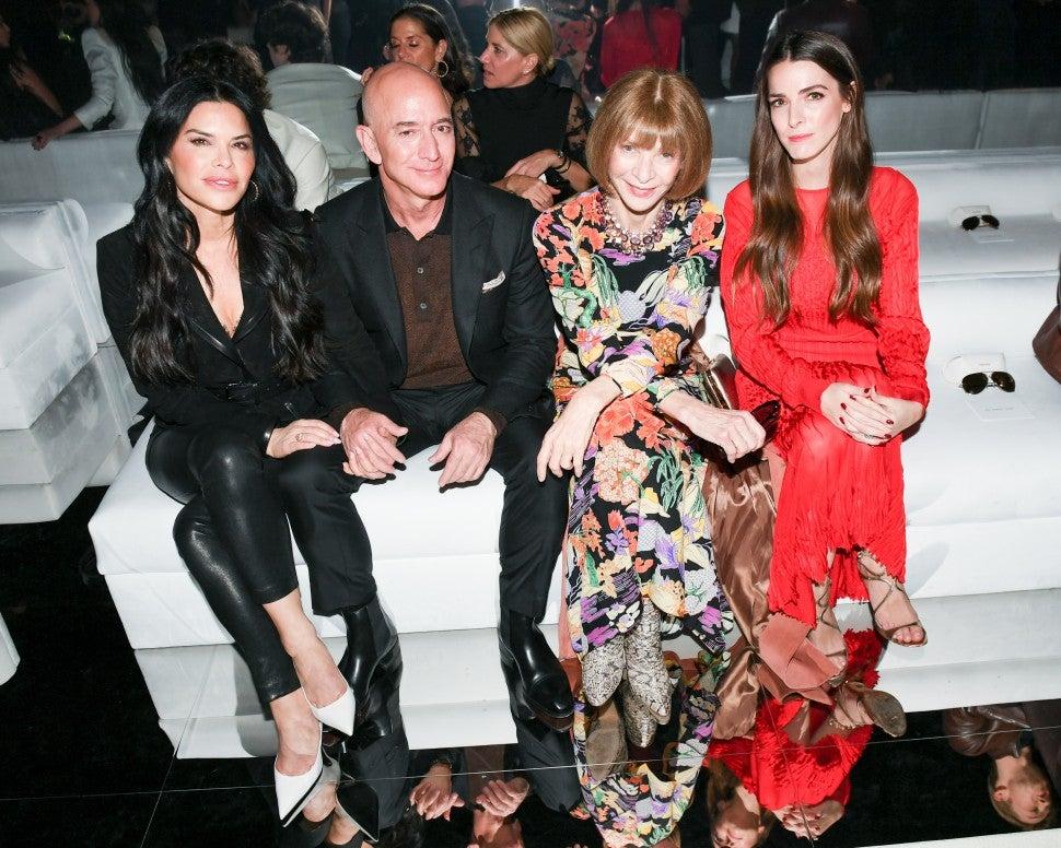 Jeff Bezos, Lauren Sanchez, Anna Wintour and Bee Schaffer at Tom Ford F/W 2020 fashion show