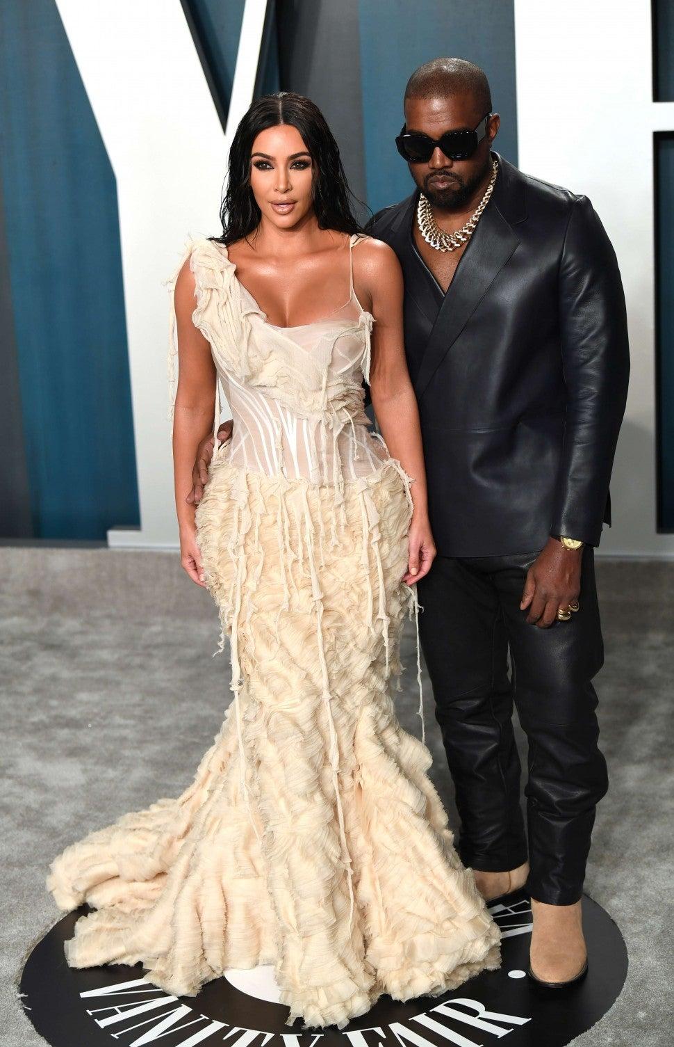 Kim Kardashian and Kanye West at the Vanity Fair Oscars Party 2020