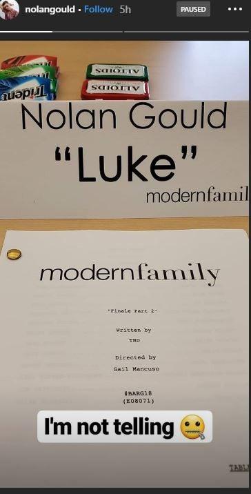 Nolan Gould Modern Family Final Table Read