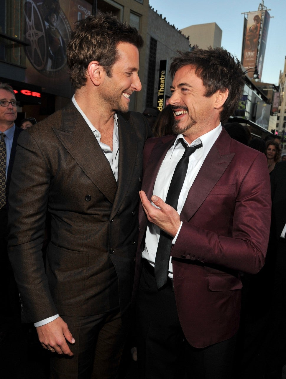 "Bradley Cooper and Robert Downey Jr. arrive at ""The Hangover Part II"" Los Angeles Premiere at Grauman's Chinese Theatre on May 19, 2011 in Hollywood, California."