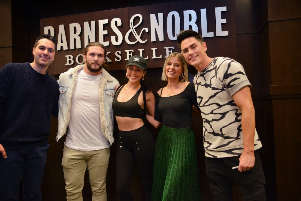 Scheana Shay and her boyfriend, Brock Davies, support her 'Vanderpump Rules' co-stars Ariana Madix and Tom Sandoval, and their co-author, Danny Pellegrino, at a book signing for 'Fancy AF Cocktails.'