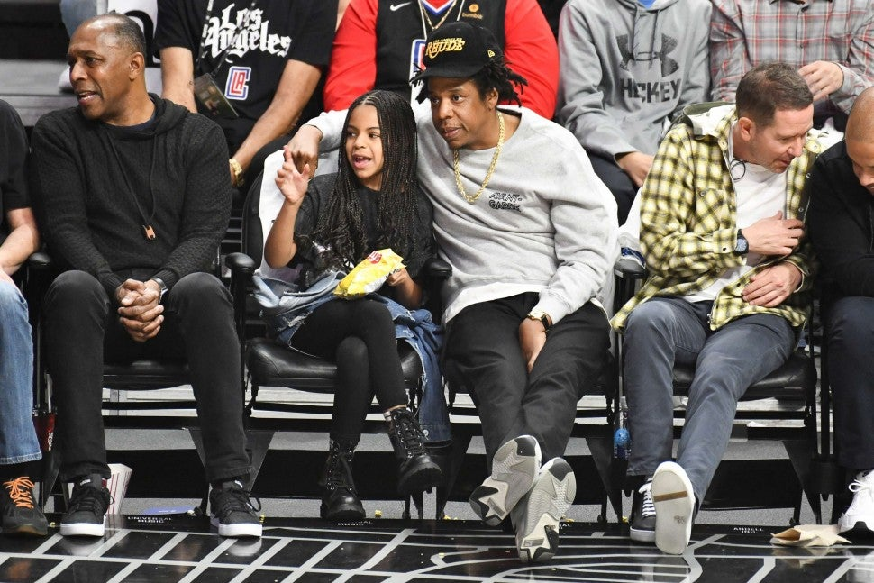 Blue Ivy and Jay-Z at Lakers Game