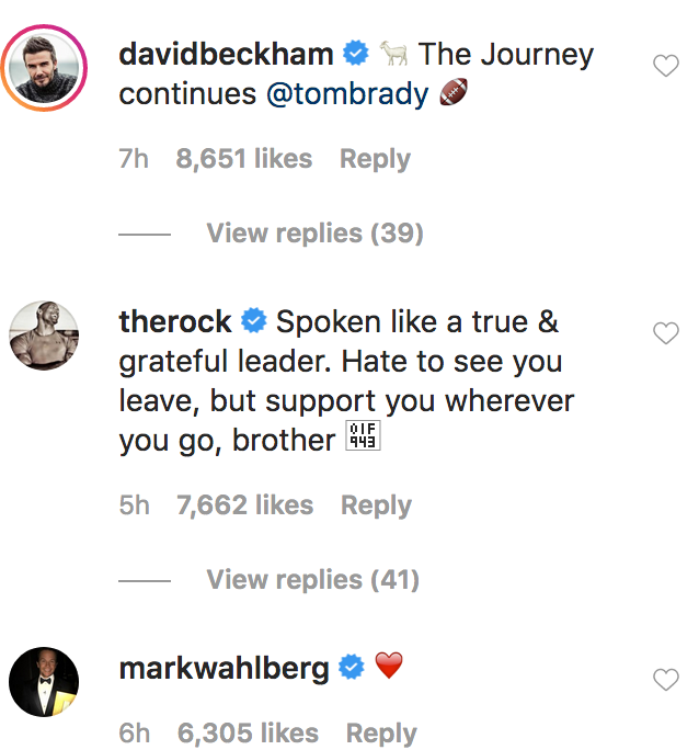 Tom Brady Comments From Celebs