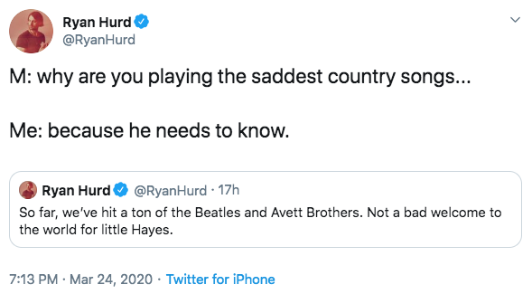 Ryan Hurd Says Baby Hayes Listens to The Beatles