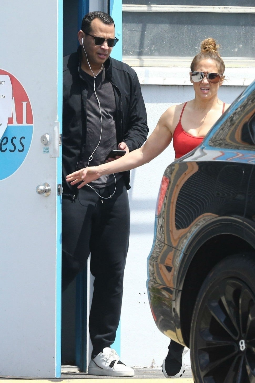 Alex Rodriguez and Jennifer Lopez at gym in Miami