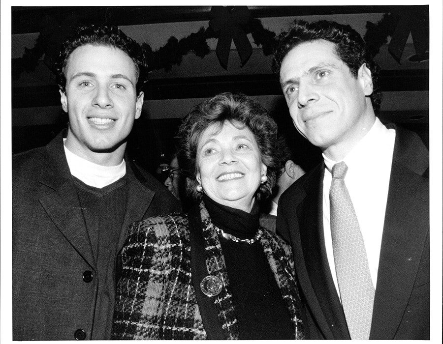 Matilda Cuomo with her sons Chris Cuomo and Andrew Cuomo during Andrew's birthday party in New York City on December 19, 1994.