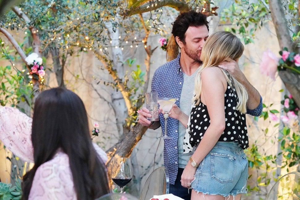 Stassi Schroeder and Beau Clark kiss at their engagement party on 'Vanderpump Rules.'