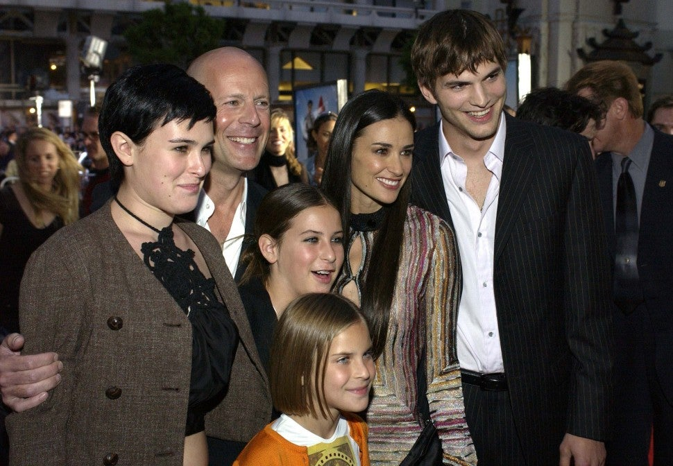 Bruce Willis, Ashton Kutcher and Demi Moore with daughters