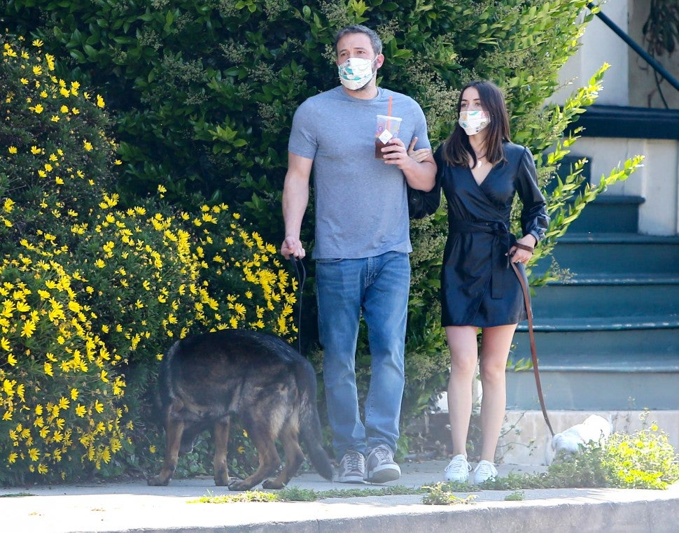 Ben Affleck and Ana de Armas are seen on April 16, 2020 in Los Angeles, California.