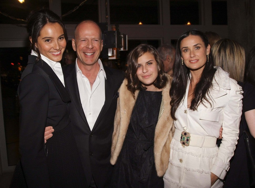 Actress Emma Hemming, actor Bruce Willis, his daughter Tallulah Belle Willis, and her mother actress Demi Moore attend the after party for the screening of