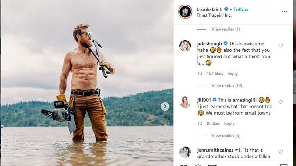 Julianne Hough comments on Brooks Laich's Instagram post.