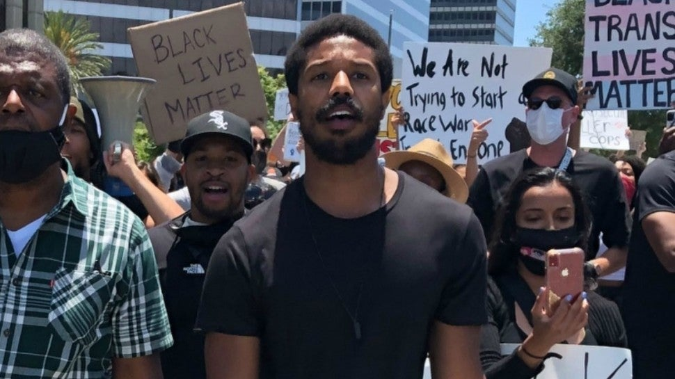 Michael B Jordan at LA Protest