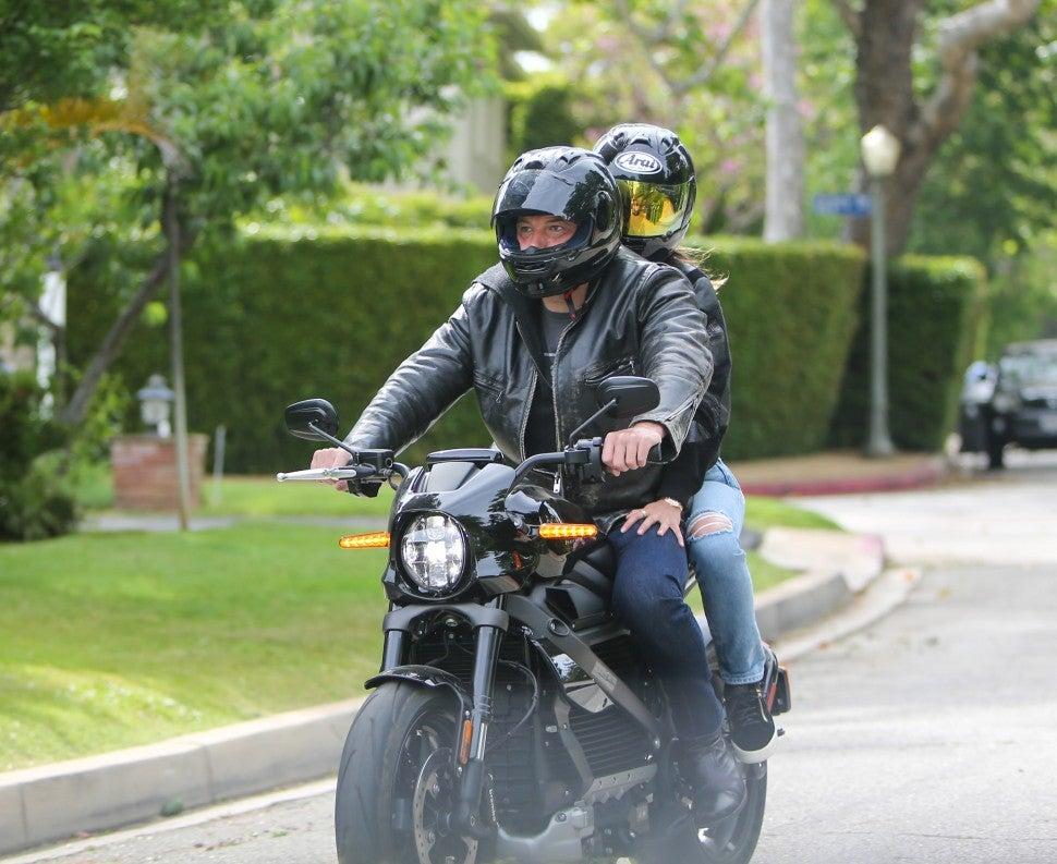 Ben Affleck and Ana de Armas on motorcycle