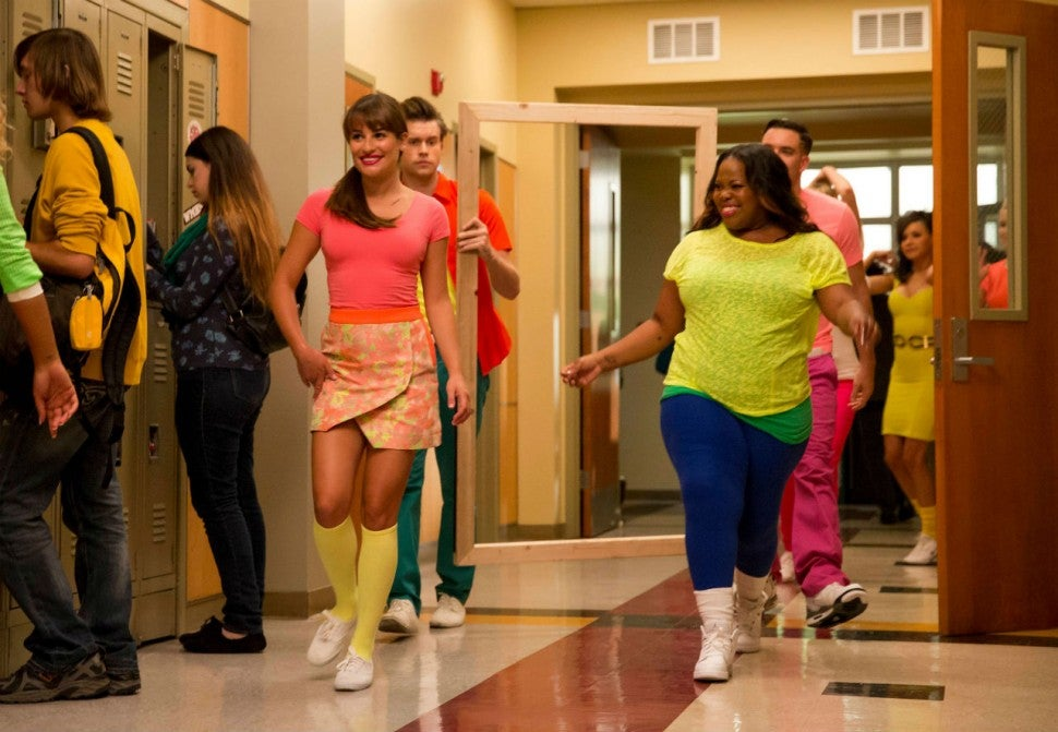 Lea Michele and Amber Riley on 'Glee'