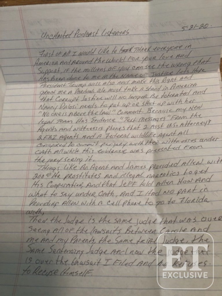 Joe Exotic Letter bugged