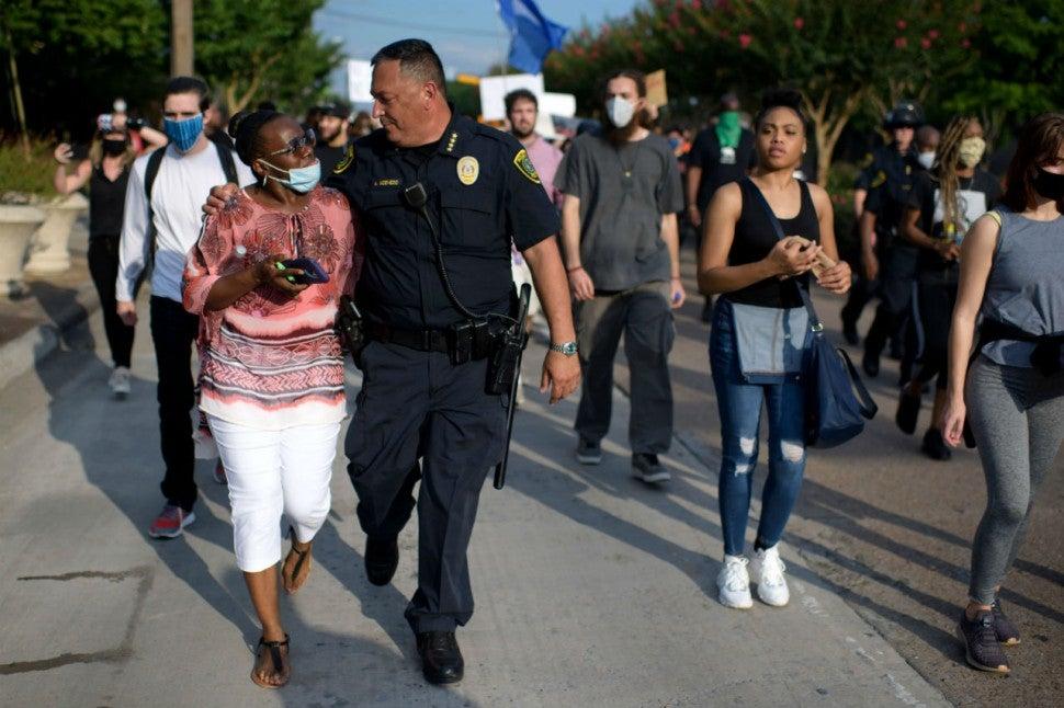 Houston, Texas, Police Chief Art Acevedo and protestors