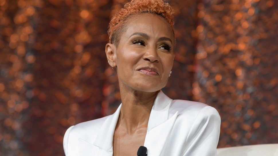 Jada Pinkett Smith speaks on stage during NATPE Miami 2020 - Facebook with Gloria, Emily and Lili Estefan at Fontainebleau Hotel on January 22, 2020 in Miami Beach, Florida.