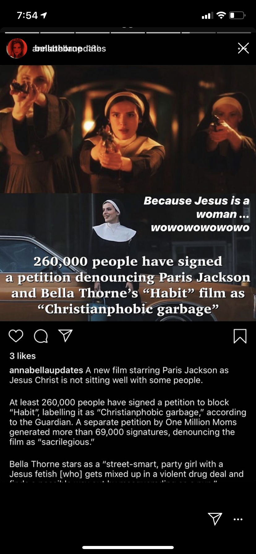 Paris Jackson to play Jesus: More than 260,000 people sign petition to have film blocked/ Bella Thorne