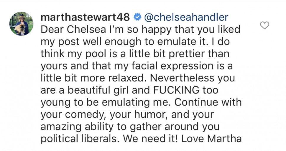 Martha Stewart Comment Chelsea Handler