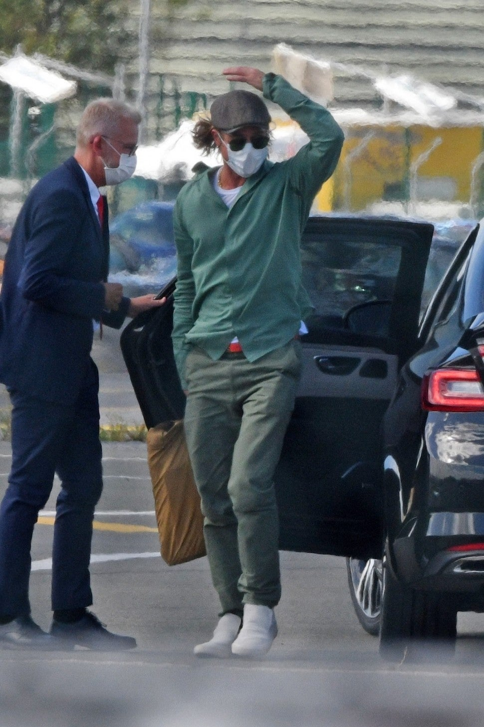 Brad Pitt at the Paris–Le Bourget Airport