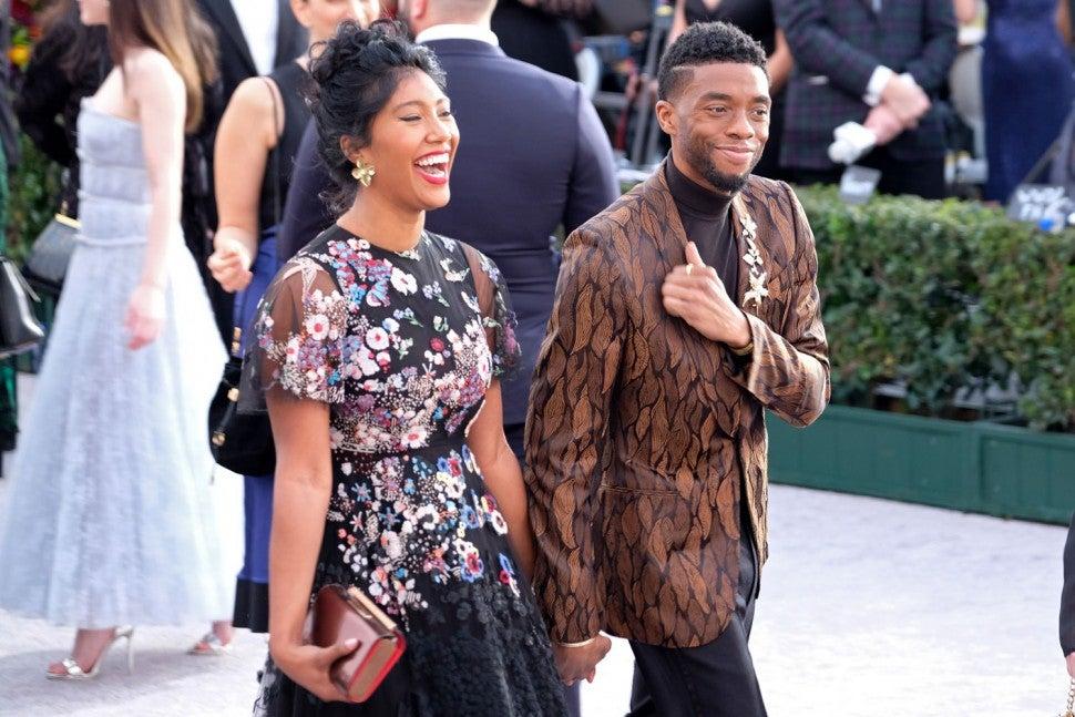 Taylor Simone Ledward and Chadwick Boseman at the 25th annual Screen ActorsGuild Awards